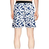efreio fagf Navy and White Tropical Hibiscus Floral Tropical Classical Beachwear Summer Short