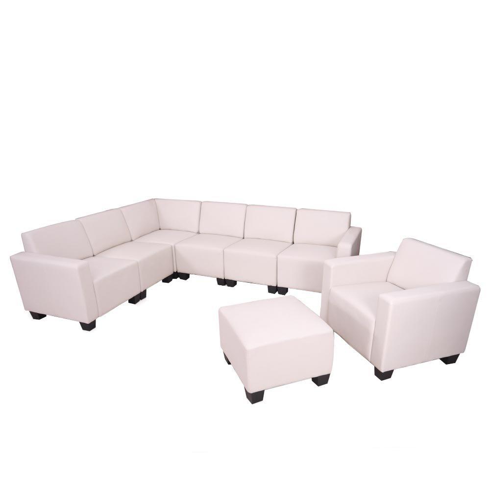 Modular Sofa-System Couch-Garnitur Lyon 6-2, Kunstleder ~ creme