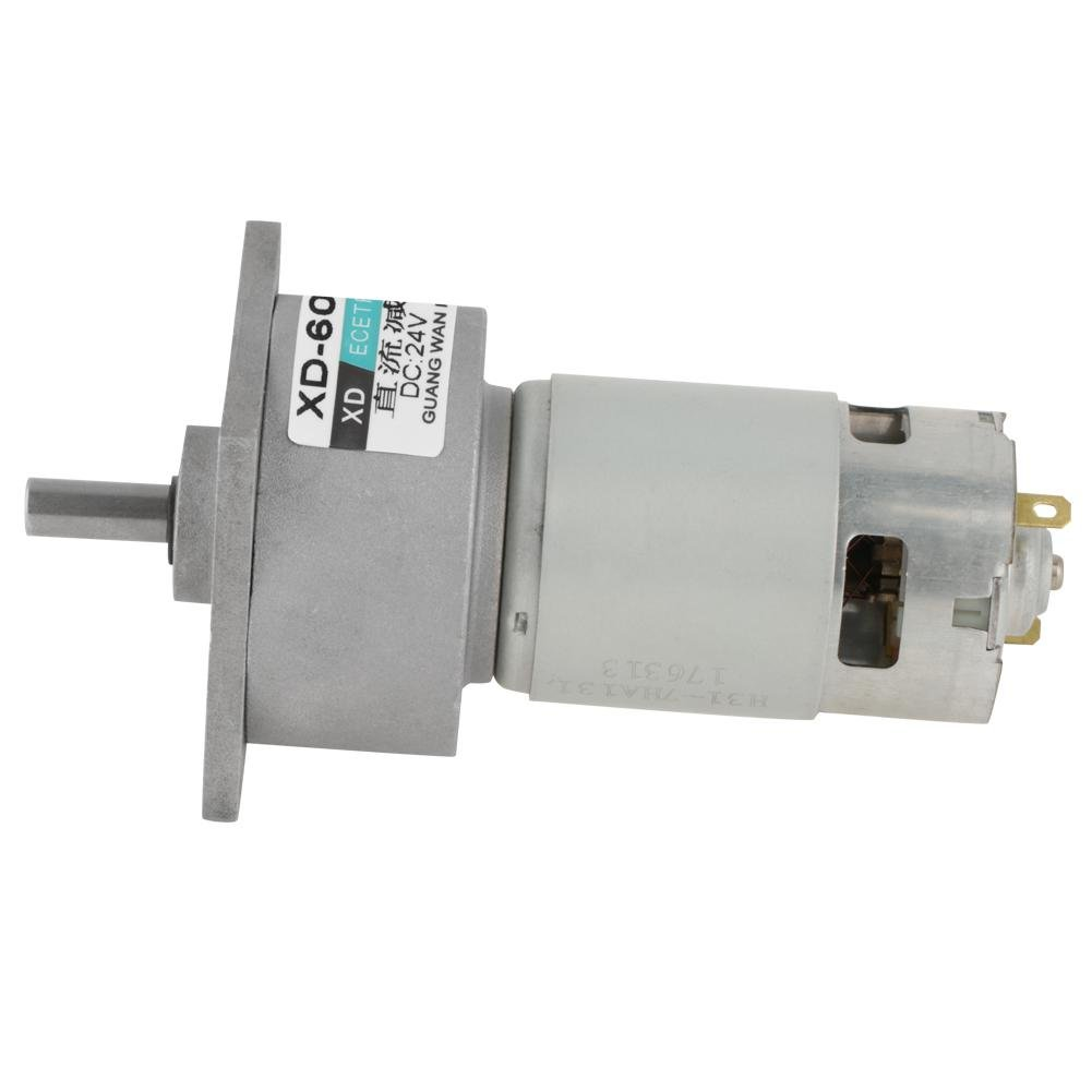 DC 12/24V 35W Adjustable Micro Speed Reducer Gear Motor CW/CCW Mini High Torque Speed Reduction Gearbox (24V 300RPM)
