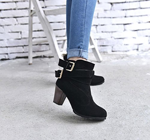 Boots XILALU Ladies Faux Belt Women Boots Black High Ankle Shoes Martin Heels Buckle 0wHU0qr