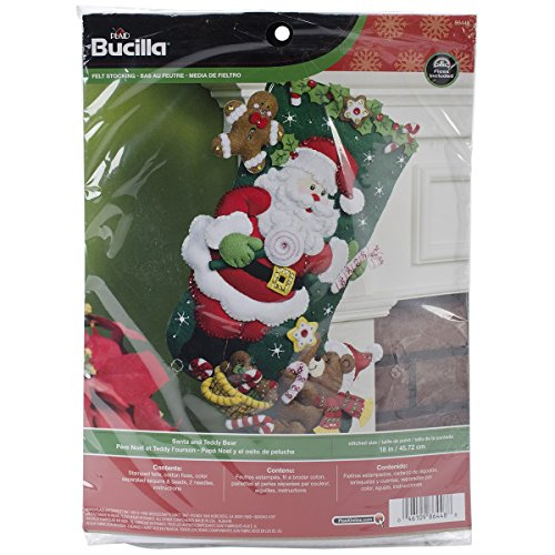 Bucilla 18-Inch Christmas Stocking Felt Applique Kit, 86448 Santa and Teddy Bear (Teddy Bear Christmas Stocking)