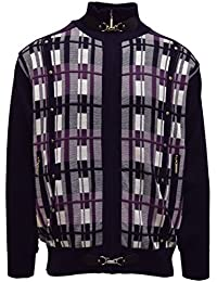 SILVERSILK MEN'S SWEATER, VERTICAL STRIPE JACQUARD DESIGN