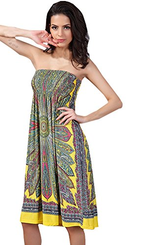 (Shawhuaa Womens Bohemian Vintage Tube Dress Summer Casual Beachwear XX-Large Yellow)