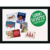 Amanti Art Framed White Christmas Card Cork Board, Mezzanotte Black: Outer Size 30 x 22''