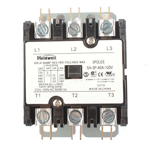 Holdwell SA-3P-40A-120V 3 Pole 40 Amp 120V Coil Definite Purpose ()