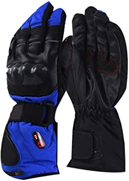 Grebest Heating Gloves Motorcycle Riding Gear Gloves Electric Heating Winter Skiing Motorcycling Touch Screen Warm Full Finger Gloves Blue XL