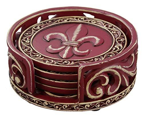 (Old River Outdoors Rustic Fleur De Lis Coaster Set w/Ornate Holder (Burgundy))