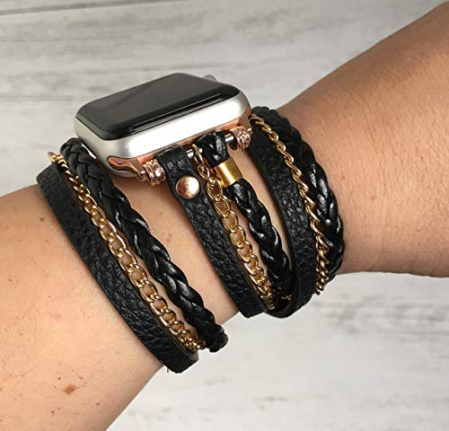 (Boho Chic Apple Watch Band Series 1 2 3 4 iWatch braided faux leather double wrap band 38 40 42 44)