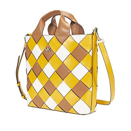 (Michael Kors Mott Woven Leather Market Tote (Jasmine Yellow/Optic White))