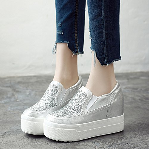 Shoe With The Height Bottom Inside Shoes Thick 10Cm six Thirty Sequins Shoes Women'S Women'S GTVERNH Single Pedal High Muffin Joker Bottom 7qCUI