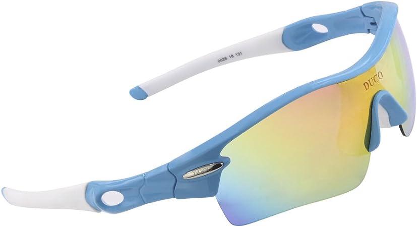 Duco 0026 - Gafas de Sol polarizadas con 5 Lentes Intercambiables, protección UV400, para Deportes como Ciclismo o Running, Color Verde Fluorescente, ...