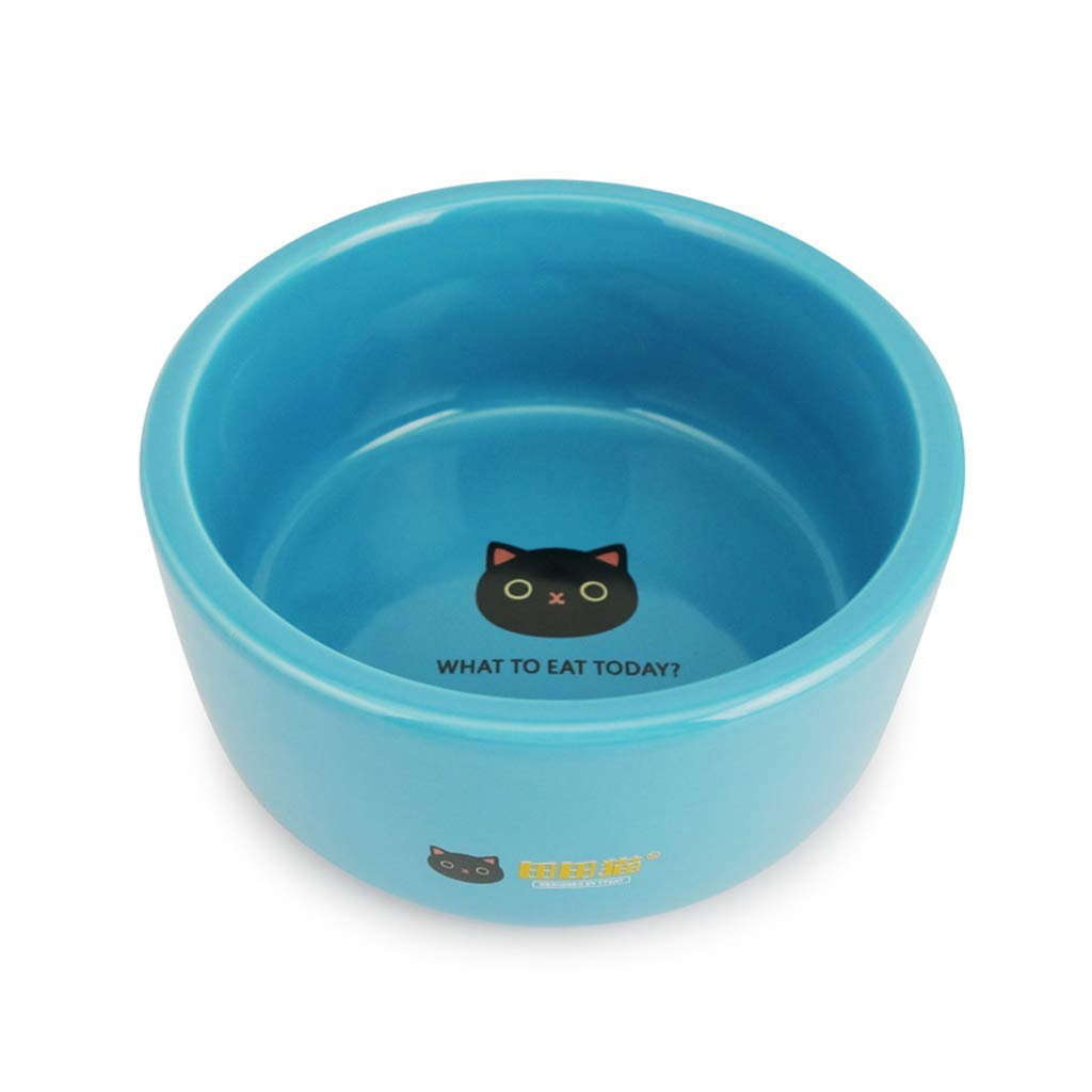 HVTKL Cat Bowl Cute Cartoon Ceramic Bowl Cat Food Dog Food Bowl bluee Pet Supplies