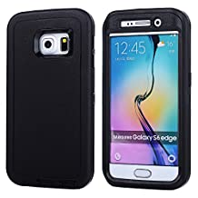 MOONCASE Galaxy S6 Edge Case, 3 Layers Heavy Duty Defender Hybrid Soft TPU +PC Bumper Triple Shockproof Drop Resistance Protective Case Cover for Samsung Galaxy S6 Edge -Black
