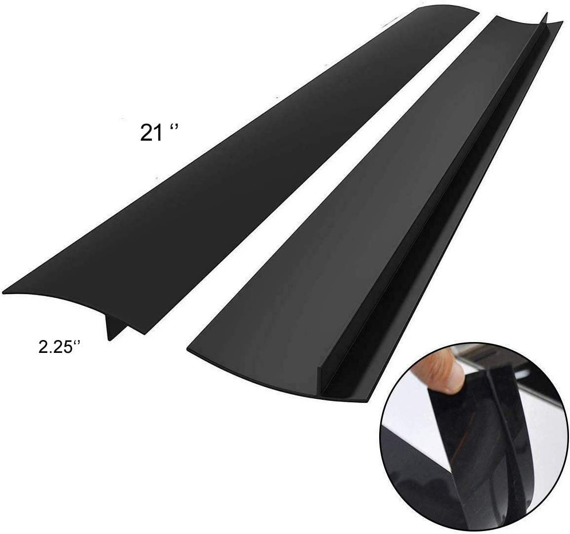 Silicone Stove Counter Gap Cover Heat Resistance Easy to Clean Long and Wide Gap Filler Seal the Gap Next to your Stove Stove Top,Dryer Leaks,Washing Machine, Oven,Washer, Set of 2(Black)
