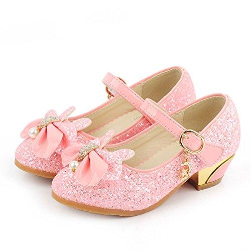 HBOS Mädchen Prinzessin Lederschuhe mit Bowknot Einfache Kinderschuhe Ballett Pink