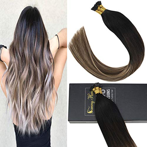 Sunny Natural Black Root to Dark Brown Mixed Dark Ash Blonde Human Hair Extensions Pre Bonded Thick Human Hair Extensions Remy Silky Straight I Tip Fusion Hair Extension 20Inch ()