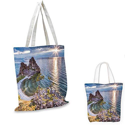 Travel royal shopping bag Shaman Rock Lake Baikal in Russia Coastal Theme Sun Rays Scenic Vista Print canvas tote bagGreen Brown Blue. 12