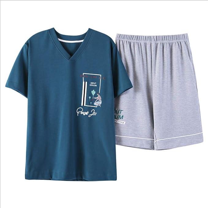 Zybnb Pijamas De Las Mujeres Pantalones Cortos De Manga Corta Algodón Par Pijamas De Dibujos Animados con Cuello En V Puede Usar Trajes De Servicio para El ...