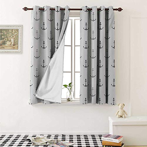 shenglv Anchor Waterproof Window Curtain Monochrome Figures with Little Hearts Hipster Hand Drawn Tattoo Art Style Retro Curtains for Party Decoration W84 x L72 Inch Black White