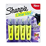 Sharpie 4 Clear View Chisel Tip Highlighters, Yellow (1897845)