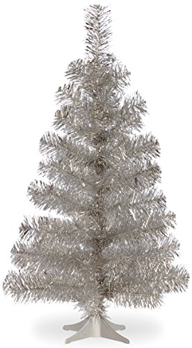 National Tree 3 Foot Silver Tinsel Tree with Plastic Stand - Trees Christmas Tinsel