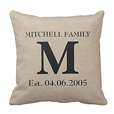 Decorative Throw Pillow Case Cushion Cover Custom Monogram Pillow Cover 18 X 18 Inches(Satin Fabric)