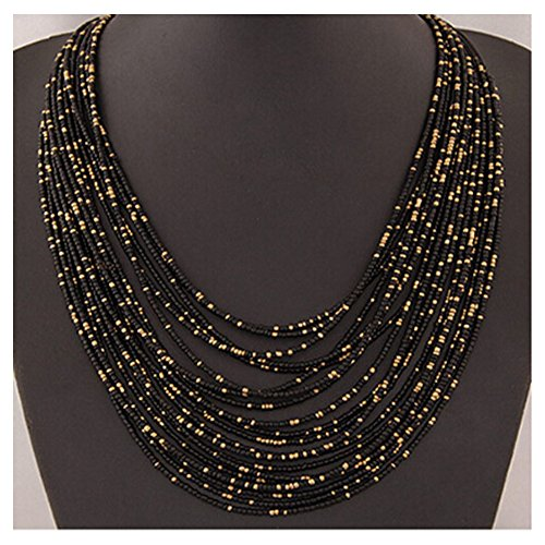 Elakaka Women's Bohemian Multilayer Beaded Necklace(Black) - Diy Softball Player Costume