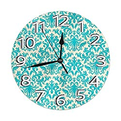9.8 Inch Universal Round Wall Clock Turquoise Classic Damask Pattern French Floral Swirls Silent Non Ticking Decorative Wall Easy Read Clock Battery Operated Is Designed To Fit Anywhere In Your Home