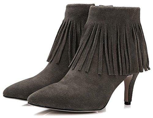 Idifu Kvinna Elegant Faux Mocka Frans Pekade Tå Stilett Hög Klack Boots Med Dragkedja Armén Grönt