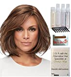 Bundle - 8 items: Cameron Large Wig by Jon Renau, Christy's Wigs Q & A Booklet, 2oz Travel Size Wig Shampoo, Conditioning Spray, Flexible Spray, HD Smooth, Wide Tooth Comb & Wig Cap - Color: 32F