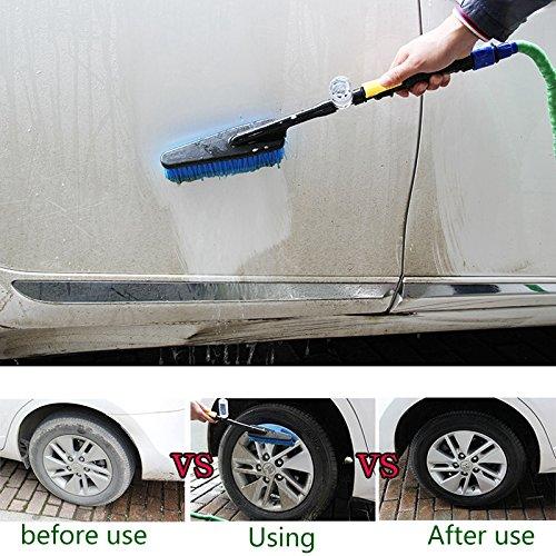 Semoic Cepillo de Lavado de Autos Herramienta de Limpieza por pulverizacion de Agua Plumero Suave de Manejar Largo