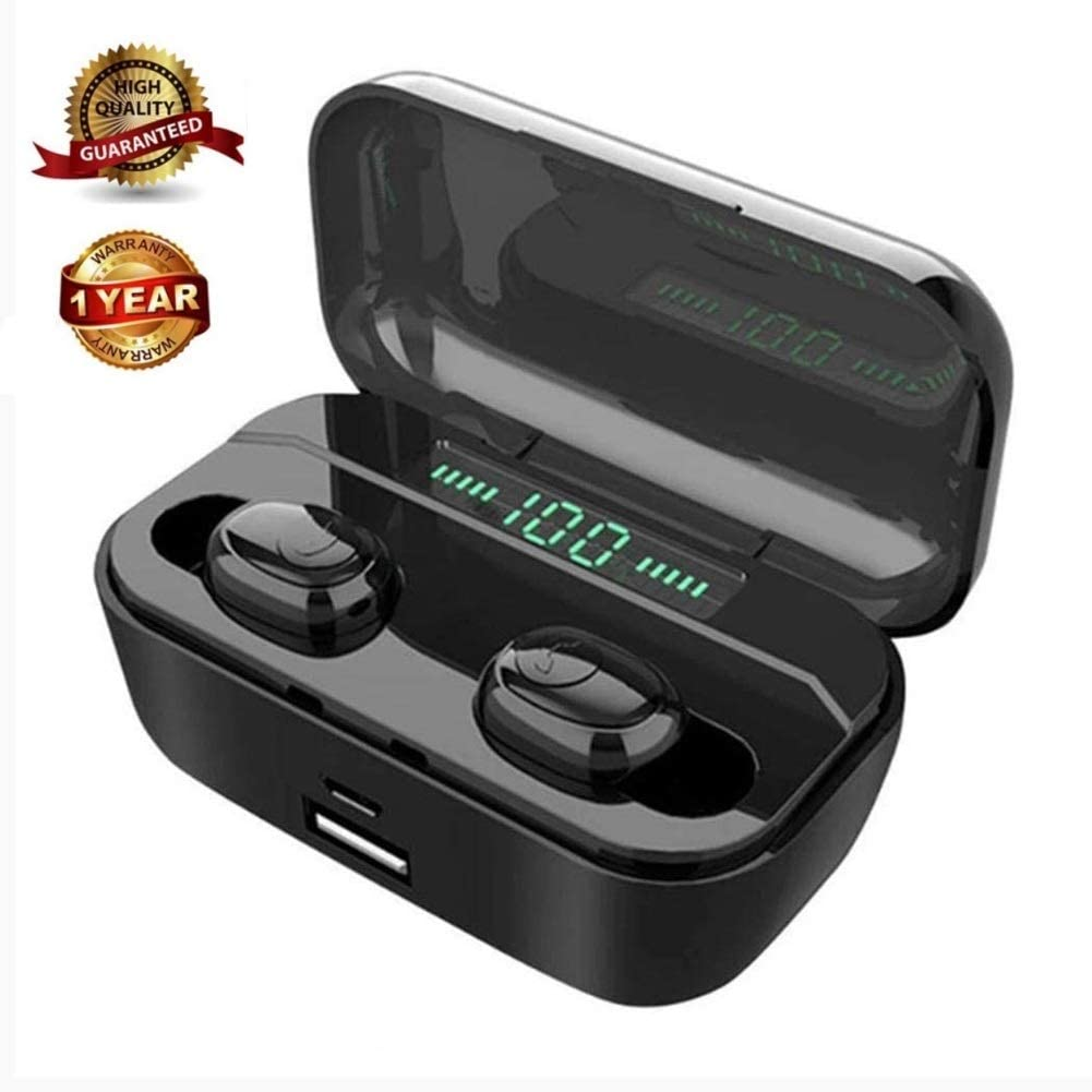 ATNM True Wireless Earbuds Bluetooth Headphones,Bluetooth 5.0 Wireless Earphones Bulid-in Mic,TWS Stereo in-Ear Headset with Charging Case Black-LED
