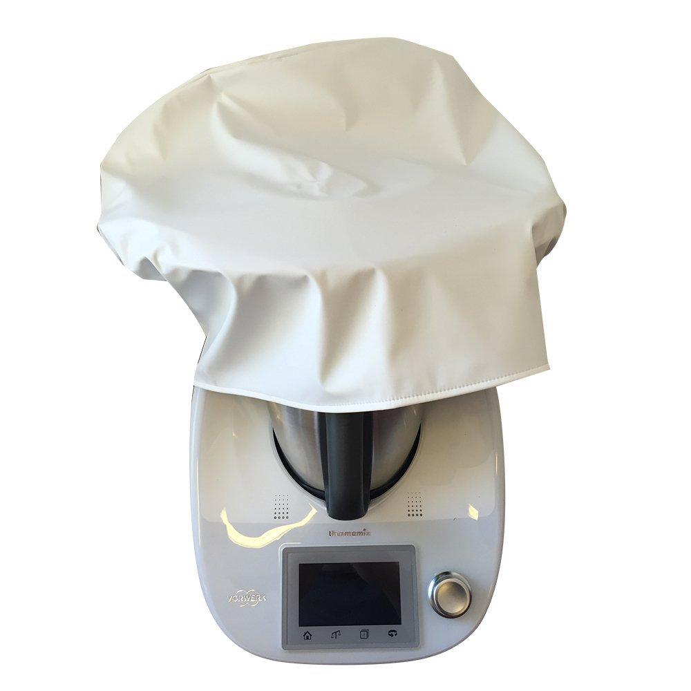 usy Schutzhaube mit Chiptasche passend für Thermomix TM5 mit Varoma Aufsatz aus hochwertigem, leicht abwaschbarem Kunststoff weiß
