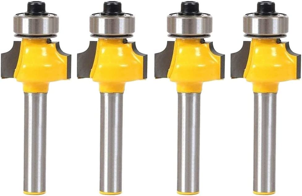4 Pack Bit Roundover Router Bit Set 1//4-Inch Shank Yellow Industrial Tools