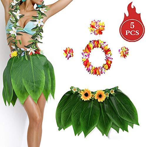 Chasoeo Elastic Ti Leaf Hula Skirt with Hibiscus Flower Leis -5 PCS,Hawaiian Hula Leaf Grass Skirt Set, Luau Grass Flower Leis Costume for Hula Costume and Beach Party (B) ()