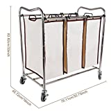 Leapair Laundry Sorter on Wheels Stainless Steel