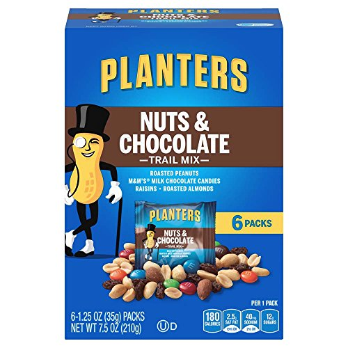 Planters Trail Mix, Nuts & Chocolate M&M's, 1.25 Ounce Bags (Pack of 6) -