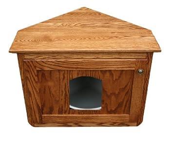 Corner Hidden Cat Litter Enclosure Oak Wood Furniture, Wooden Kitty Litter  Box