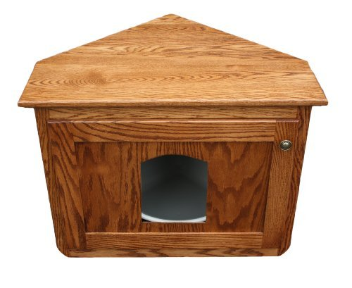 Corner Hidden Cat Litter Enclosure Oak Wood Furniture, Wooden Kitty Litter Box