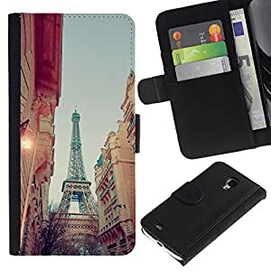 KingStore / Leather Etui en cuir / Samsung Galaxy S4 Mini i9190 / Calle Eiffel Vista cielo de la tarde;