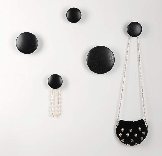 Wall Hooks Coat Hooks 5Pcs Dots Hook Door Hanger Hook For The Wall,Living Room,Bathroom,Home Decor.(Black)