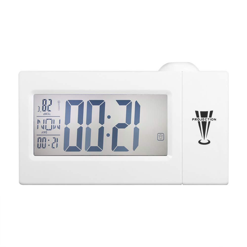 Temperatura C // /° F Sveglia della proiezione LED Digital Orologio elettronico Desk Clock con Proiezione Ora Comodino Voice Sveglia Orologio del proiettore Sunsbell Proiezione Alarm Clock