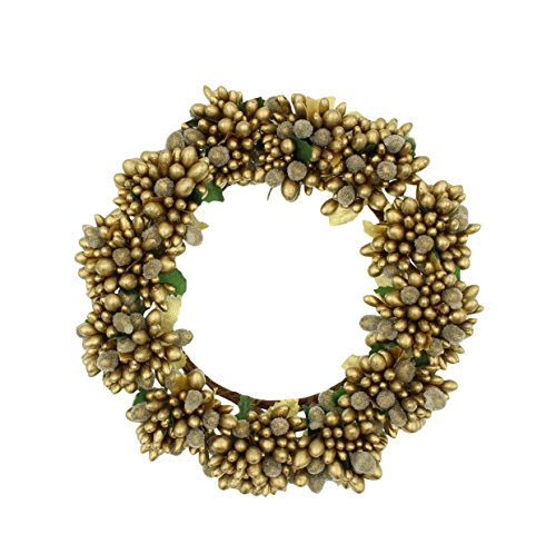 Berry Pillar Candle Ring - 6.5-inch Beaded Berry Wreath Candlering Candle Ring Gold