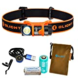 OLIGHT H1R Nova 600 Lumens Rechargeable LED Headlamp w RCR123A Battery, Magnetic USB Charging Cable, and LumenTac CR123A Battery (Orange, Neutral White)