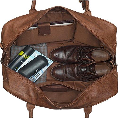 STILORD Reisetasche elegant und groß XXL Weekender Bag Sporttasche Freizeittasche Ledertasche echtes Büffel-Leder cognac braun