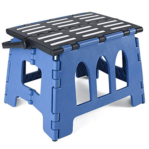 Acko 9Inch Folding Step Stool - The Lightweight Step Stool is Sturdy Enough to Support Adults and Safe Enough for Kids. Opens Easy with One Flip. Great for Kitchen, Bathroom, Bedroom, Kids or Adults. ()