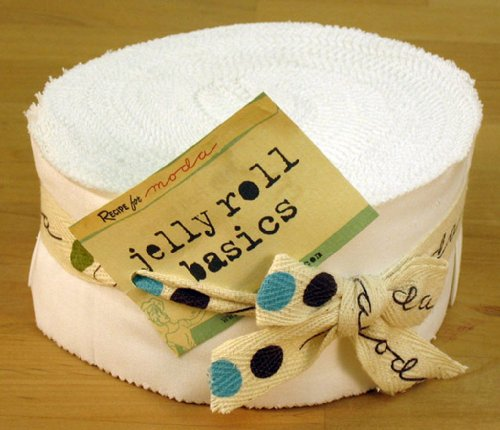 - Moda Bella Solids White Bleached 9900-98 Jelly Roll, 40 2.5x44-inch Cotton Fabric Strips
