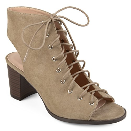 - Journee Collection Womens Lace-up Faux Suede High Heel Booties Taupe, 8.5 Regular US