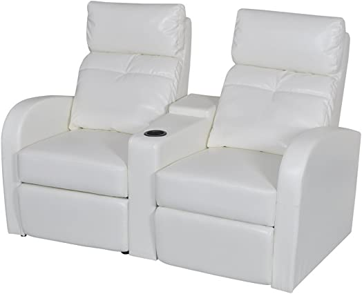 vidaXL White Artificial Leather 2-Seat Home Theater Recliner Sofa Lounge w Cup Holder