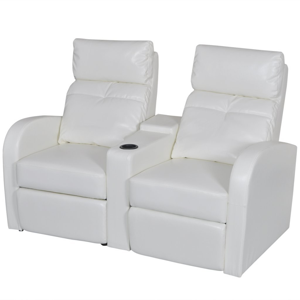 Anself Recliner Love Seats Artificial Leather Home Theater Cinema Reclining Sofa White